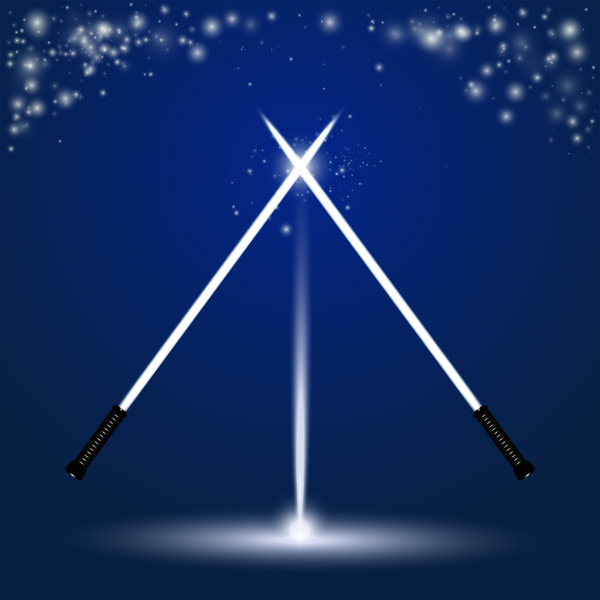 two crossed light sabres with stars
