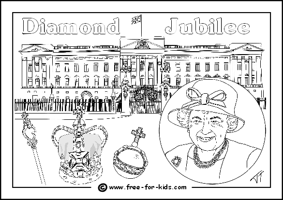 Preview Image of Queens Diamond Jubilee Colouring Page with Queen and Crown Jewels outside Buckingham Palace