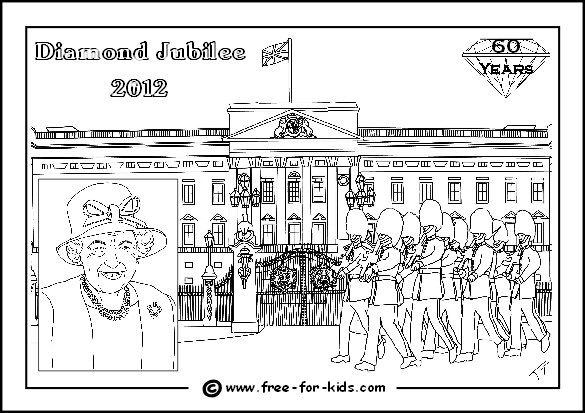 Preview Image of Queens Diamond Jubilee Colouring Page with Marching Guards outside Buckingham Palace