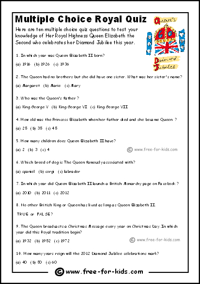 Preview Image of Queens Diamond Jubilee Quiz Sheet for Younger Children