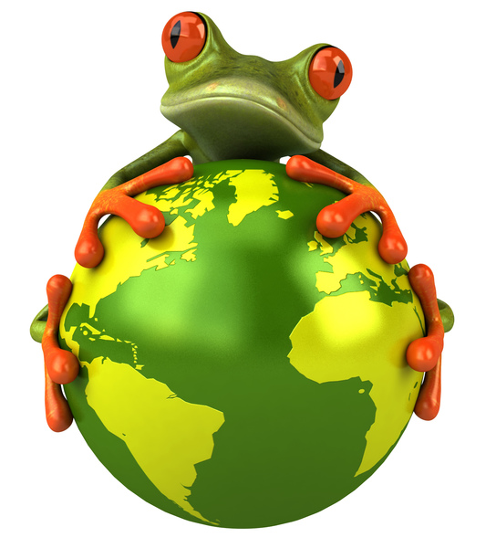 image of a tree frog on the planet earth
