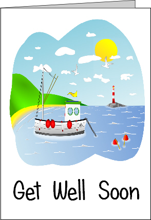 Preview of Printable Get Well Soon Card with a Boat on the Sea