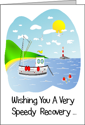 Preview of Printable Get Well Soon Card with a Boat Wishing a Speedy Recovery