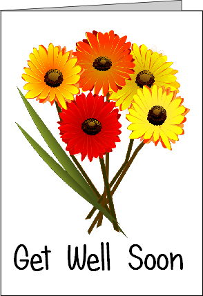 Preview of Printable Get Well Soon Card with Flowers
