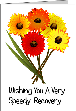 Preview of Printable Get Well Soon Card with Flowers wishing a Speedy Recovery
