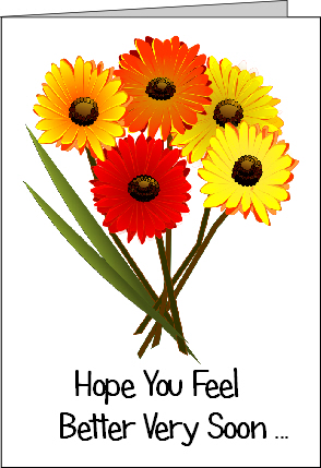 Preview of Printable Get Well Soon Card with Flowers saying Hope You Feel Better Soon