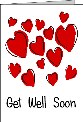 Preview of Printable Get Well Soon Card with Hearts