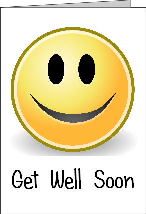 Preview of Printable Get Well Soon Card with Smiley Emoji Face