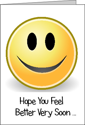 Preview of Printable Get Well Soon Card with Smiley Emoji Face with Hope You Feel Better Soon Message