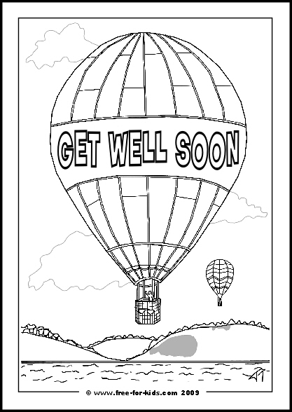 Preview of Printable Get Well Soon Hot Air Balloon Colouring Sheet with Message