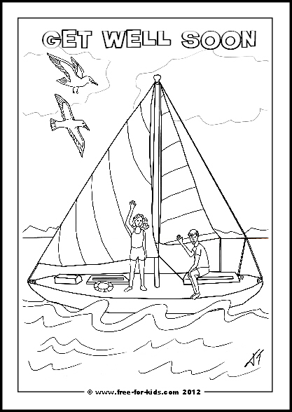 Preview of Printable Get Well Soon Yacht and Children Colouring Sheet with Message