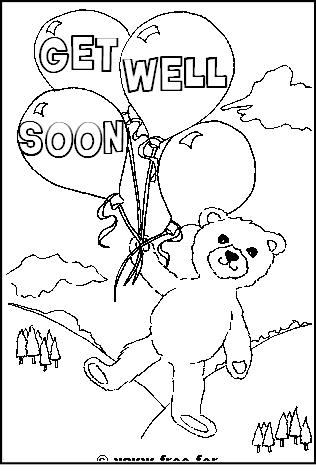 Preview of Printable Get Well Soon Colouring Sheet with Bear and Balloons