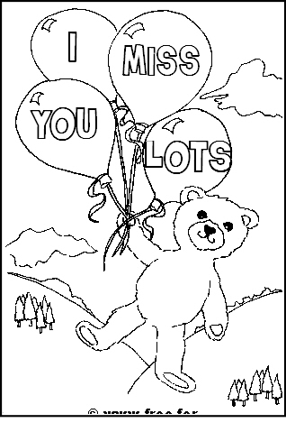 Preview of Printable Get Well Soon Colouring Sheet with Bear and Balloons and Miss you Lots Message