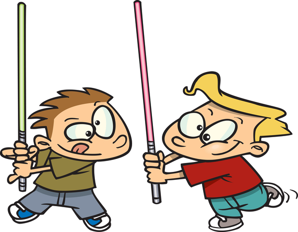two boys playing star wars
