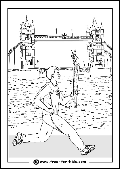 Preview of 2012 Olympic Colouring Sheet Male Athlete with Olympic Flame