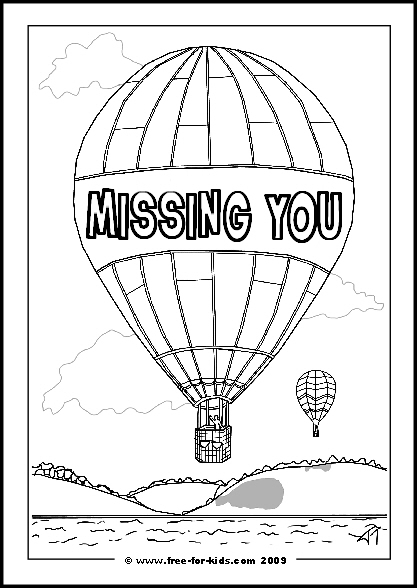 Preview of Printable Get Well Soon Colouring Sheet of Hot Air Balloon and Missing You Message