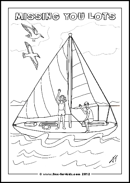 Preview of Printable Get Well Soon Colouring Sheet with Yacht and Children and Missing You Lots Message