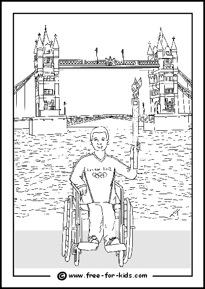 Preview of 2012 Olympic Colouring Sheet Paralympian with Olypmic Flame