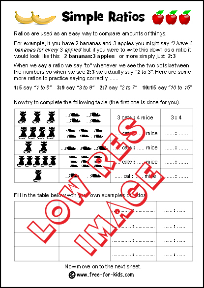 Preview of simple ratios worksheet