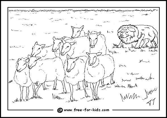 Preview of Sheep in a Field with Sheepdog Colouring Page