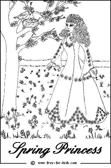 Preview of Spring Princess Printable Colouring Page