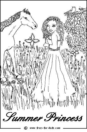 Preview of Summer Princess Printable Colouring Page