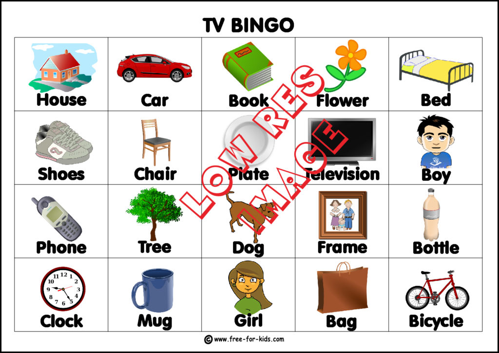 preview image of printable TV bingo card