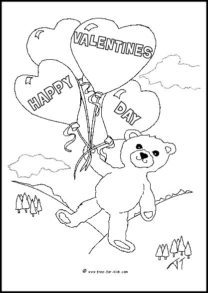 Preview of Valentines Day Bear with Balloons Colouring Sheet