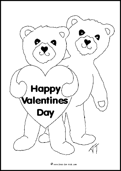 Preview of Valentines Day Teddy Bears Colouring Sheet