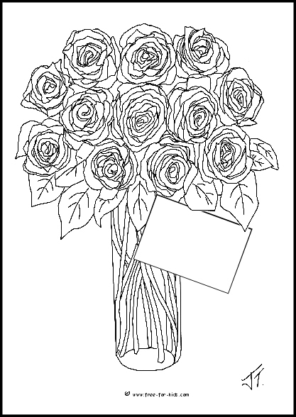 Preview of Valentines Day Roses Colouring Sheet