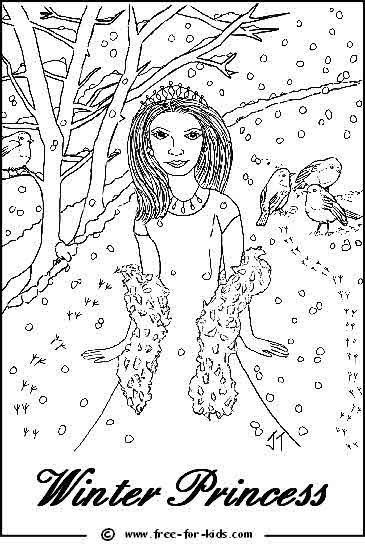 Preview of Printable Winter Princess Colouring Page