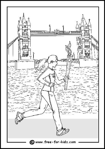 Preview of 2012 Olympic Colouring Sheet Female Athlete with Olympic Flame