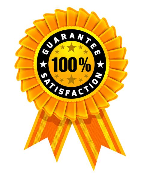 Award ribbon with text saying 100% Guarantee Satisfaction