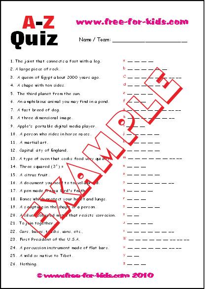 Preview of Printable A to Z Alphabet Quiz Sheet