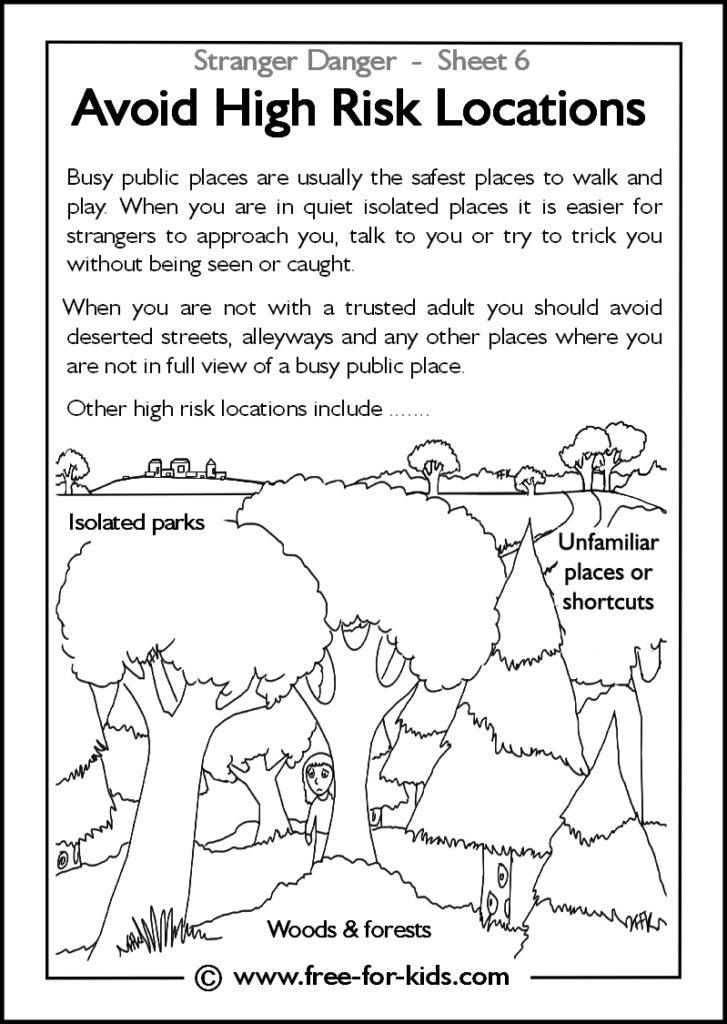 Preview of Printable Stranger Danger Worksheet - avoid high risk locations