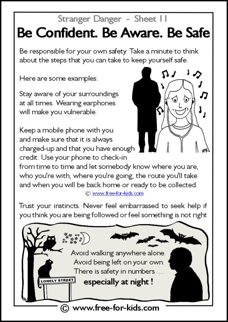 Preview of Printable Stranger Danger Worksheet - be confident be aware