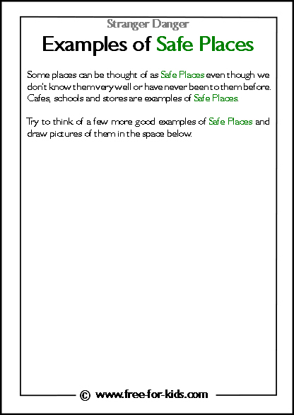 Preview of Printable Stranger Danger Worksheet - examples of safe places blank space