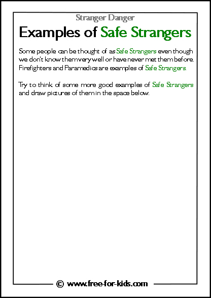 Preview of Printable Stranger Danger Worksheet - examples of safe strangers blank space