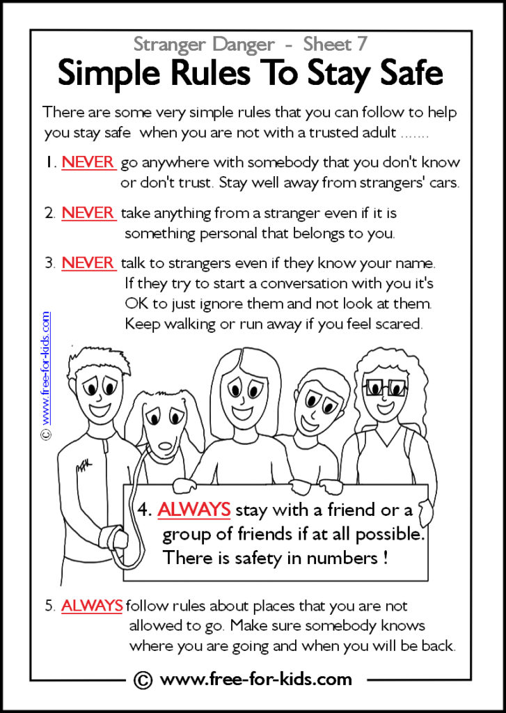 Preview of Printable Stranger Danger Worksheet - simple rules to stay safe