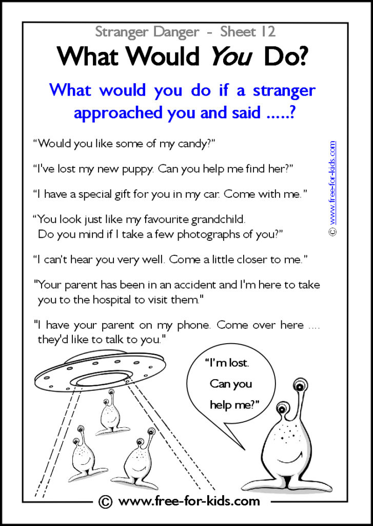 Preview of Printable Stranger Danger Worksheet - what would you do?
