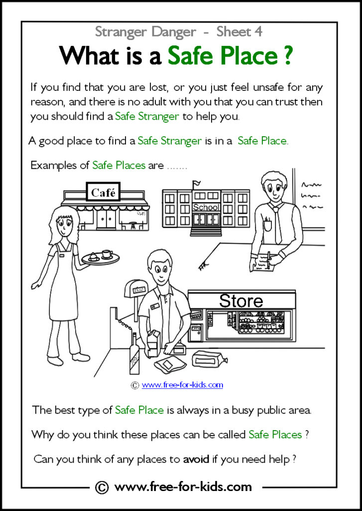 Preview of Printable Stranger Danger Worksheet - examples of safe places