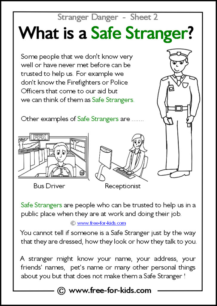Preview of Printable Stranger Danger Worksheet - what is a safe stranger?