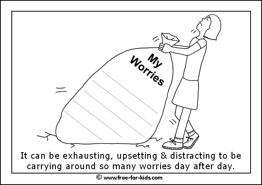 Preview of printable anxiety colouring worksheet showing big sack of worries