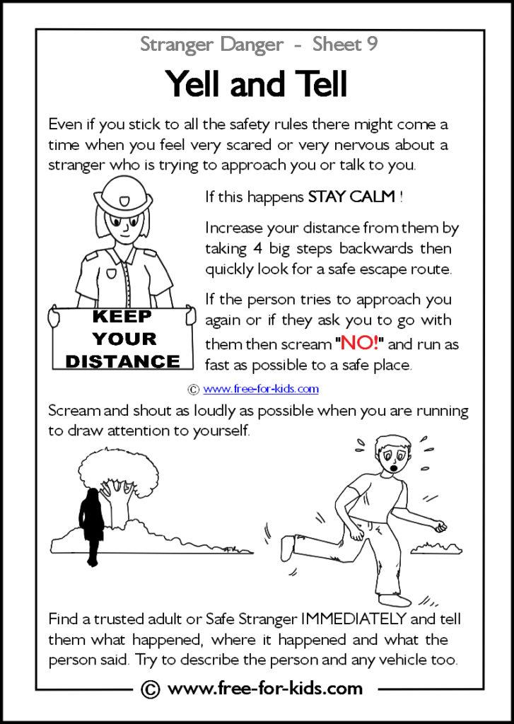 Preview of Printable Stranger Danger Worksheet - yell and tell