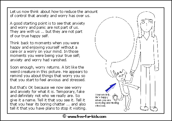Preview of printable anxiety colouring worksheet showing worry is not part of us