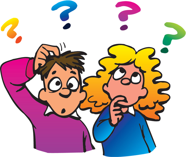 Boy and girl with question marks above their heads looking puzzled