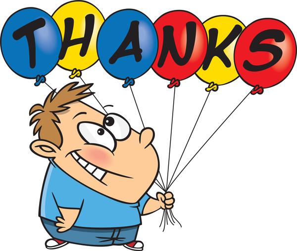 Boy holding balloons that spell THANKS