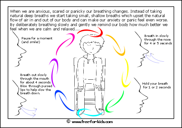 Preview of printable anxiety colouring worksheet showing breathing exercise