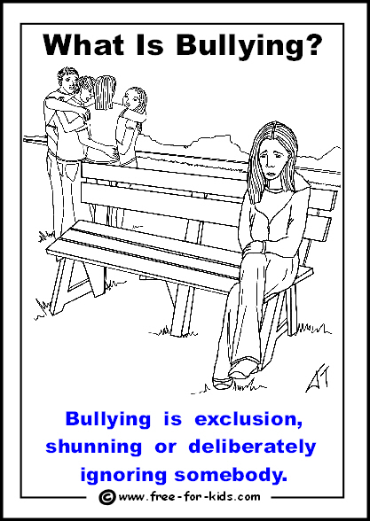 Preview of free printable anti-bullying colouring page - bullying is exclusion