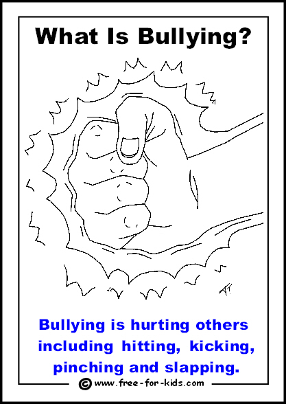 Preview of free printable anti-bullying colouring page - bullying is hurting others